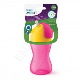 Philips Avent Чаша със сламка 300мл, розова, 12м+  SCF 798/02