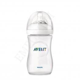 Philips Avent Стъклена бутилка Natural 240 мл биберон с 1 дупкa 1м+ SCF 673/17