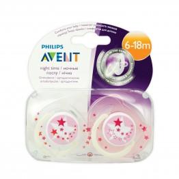 Philips Avent Ортодонтични залъгалки Night (розови) 6-18м., 2бр. SCF 176/24