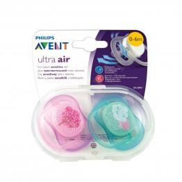Philips Avent Ортодонтични залъгалки Ultra Air, дръвче-момиче, 0-6м., 2бр. SCF343/20