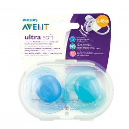 Philips Avent Ортодонтични залъгалки Ultra Soft, момче, 6-18м., 2бр. SCF212/22