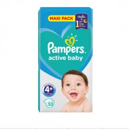 Pampers Active Baby Бебешки памперси VPP s4+ Maxi Plus (10-15кг)-53 бр.