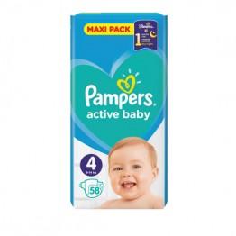 Pampers Active Baby Бебешки памперси VPP s4 Maxi (9-14кг)-58 бр.